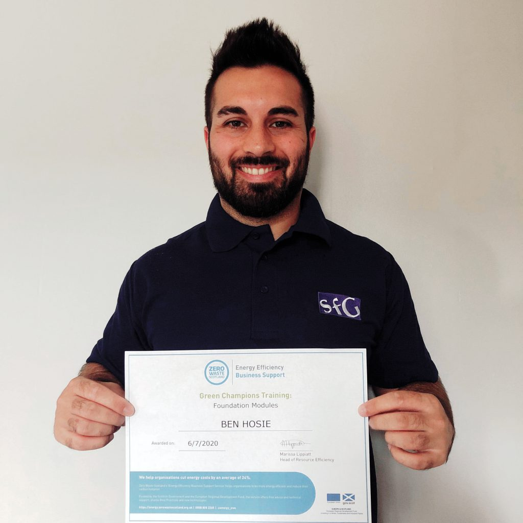 Product Manager, Ben, delighted to receive his Green Champions Certificate.